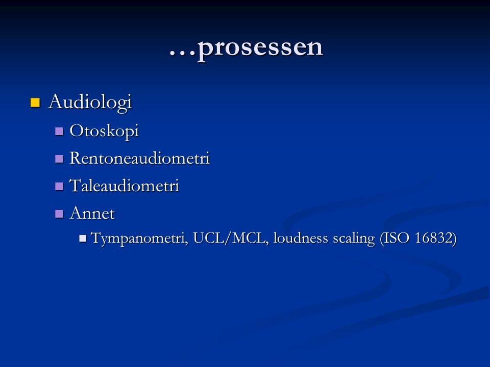 …prosessen Audiologi Audiologi Otoskopi Otoskopi Rentoneaudiometri Rentoneaudiometri Taleaudiometri Taleaudiometri Annet Annet Tympanometri, UCL/MCL,