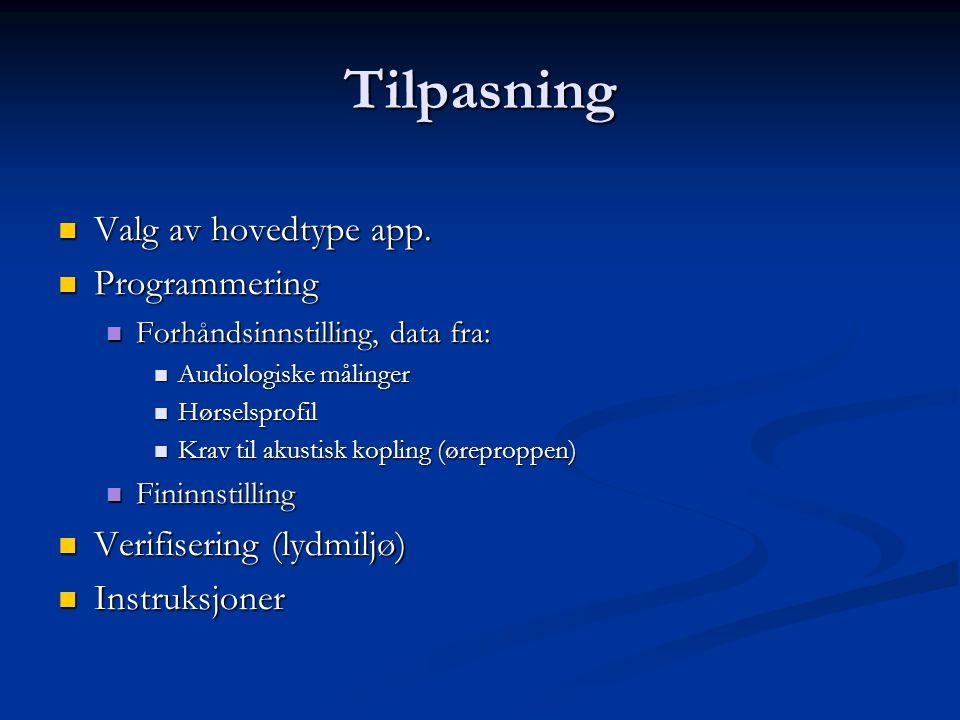 Tilpasning Valg av hovedtype app. Valg av hovedtype app. Programmering Programmering Forhåndsinnstilling, data fra: Forhåndsinnstilling, data fra: Aud