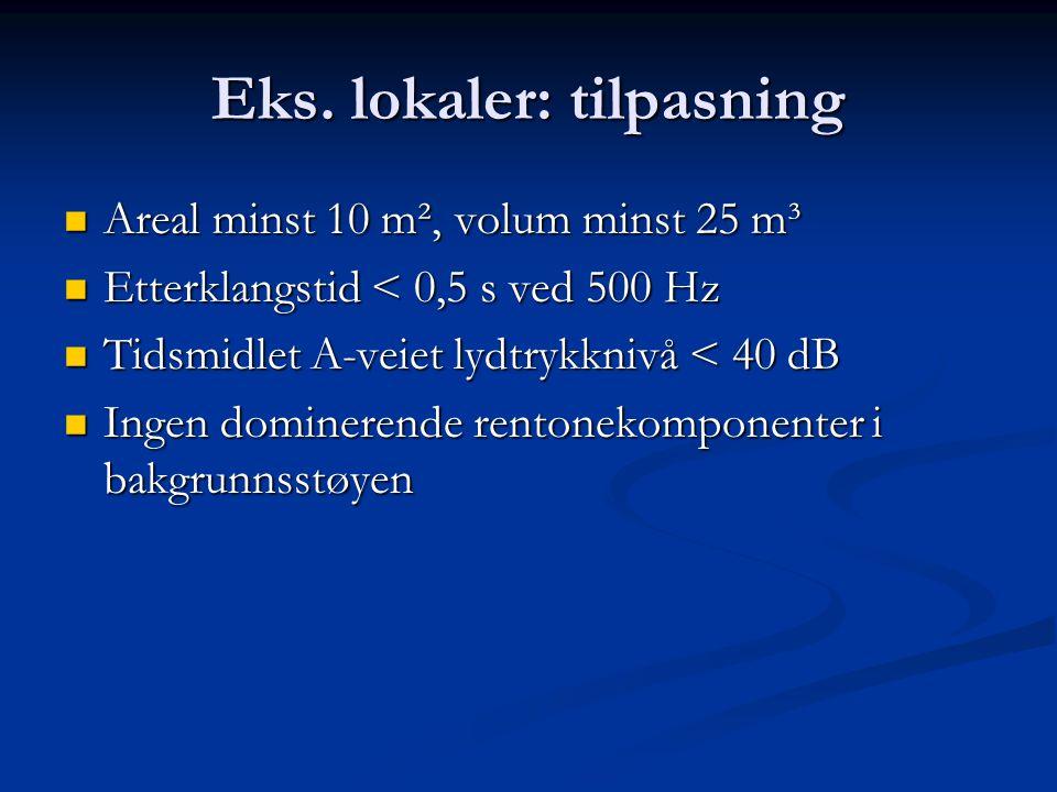 Eks. lokaler: tilpasning Areal minst 10 m², volum minst 25 m³ Areal minst 10 m², volum minst 25 m³ Etterklangstid < 0,5 s ved 500 Hz Etterklangstid <