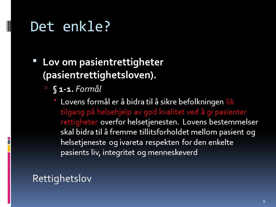 Det enkle?  Lov om pasientrettigheter (pasientrettighetsloven).  § 1-1. Formål  Lovens formål er å bidra til å sikre befolkningen lik tilgang på he