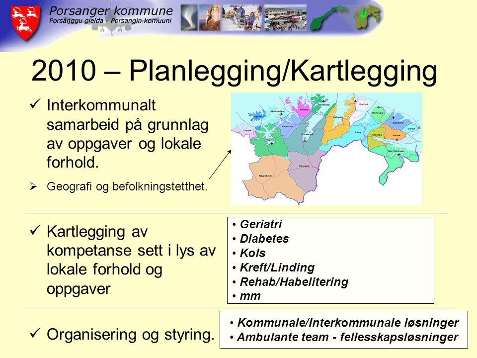 2010 – Planlegging/Kartlegging Interkommunalt samarbeid på grunnlag av oppgaver og lokale forhold.  Geografi og befolkningstetthet. Kartlegging av ko