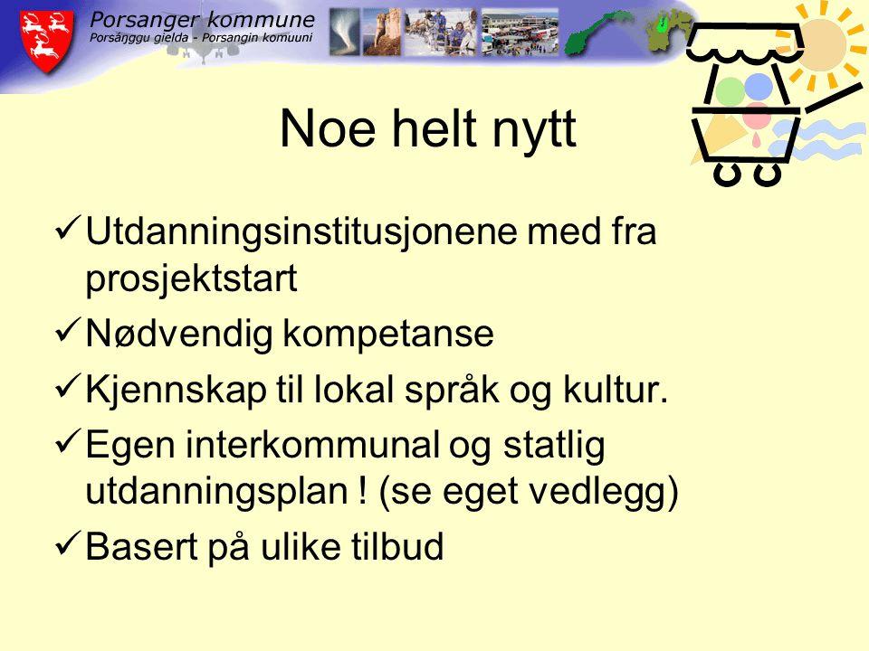 Noe helt nytt Utdanningsinstitusjonene med fra prosjektstart Nødvendig kompetanse Kjennskap til lokal språk og kultur.