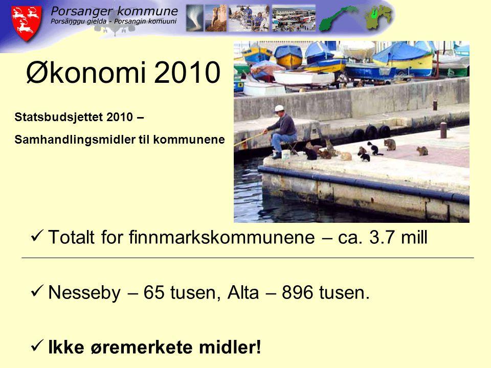 Økonomi 2010 Totalt for finnmarkskommunene – ca. 3.7 mill Nesseby – 65 tusen, Alta – 896 tusen.