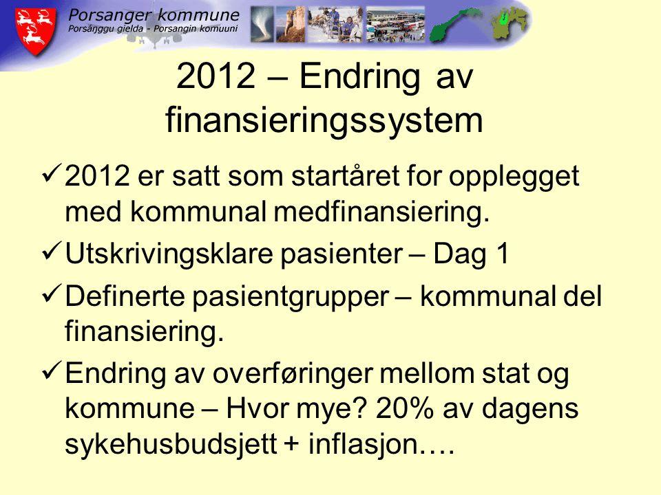 2012 – Endring av finansieringssystem 2012 er satt som startåret for opplegget med kommunal medfinansiering. Utskrivingsklare pasienter – Dag 1 Define