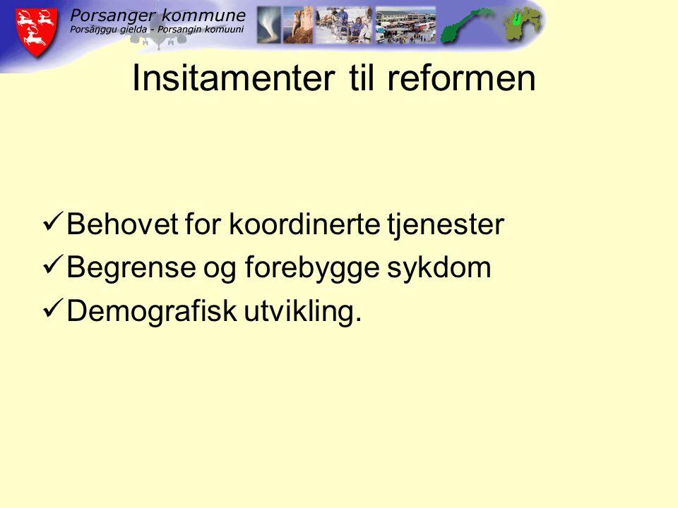 Insitamenter til reformen Behovet for koordinerte tjenester Begrense og forebygge sykdom Demografisk utvikling.