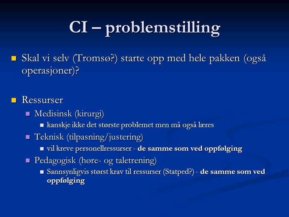 CI – problemstilling Skal vi selv (Tromsø ) starte opp med hele pakken (også operasjoner).