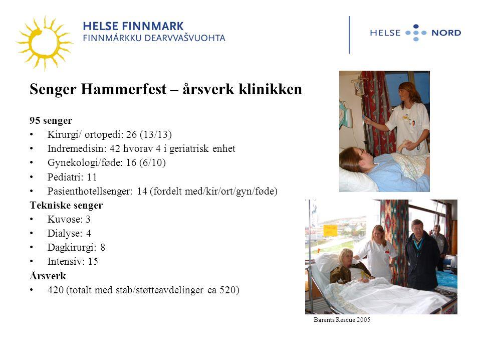 Senger Hammerfest – årsverk klinikken 95 senger Kirurgi/ ortopedi: 26 (13/13) Indremedisin: 42 hvorav 4 i geriatrisk enhet Gynekologi/føde: 16 (6/10) Pediatri: 11 Pasienthotellsenger: 14 (fordelt med/kir/ort/gyn/føde) Tekniske senger Kuvøse: 3 Dialyse: 4 Dagkirurgi: 8 Intensiv: 15 Årsverk 420 (totalt med stab/støtteavdelinger ca 520) Barents Rescue 2005