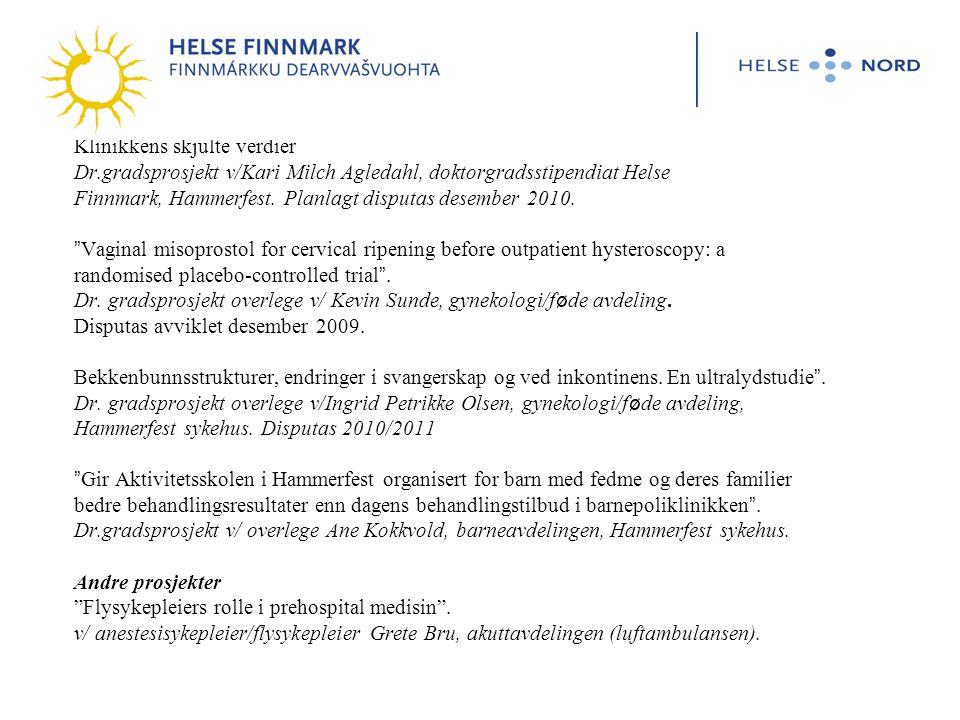 Klinikkens skjulte verdier Dr.gradsprosjekt v/Kari Milch Agledahl, doktorgradsstipendiat Helse Finnmark, Hammerfest.