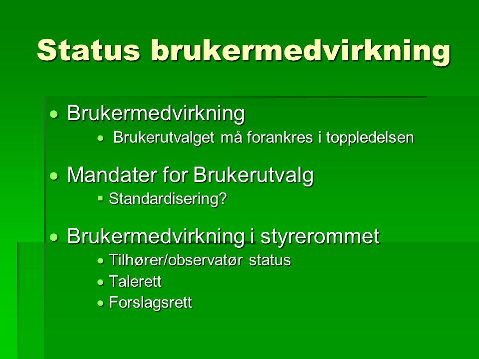 Status brukermedvirkning  Brukermedvirkning  Brukerutvalget må forankres i toppledelsen  Mandater for Brukerutvalg  Standardisering.