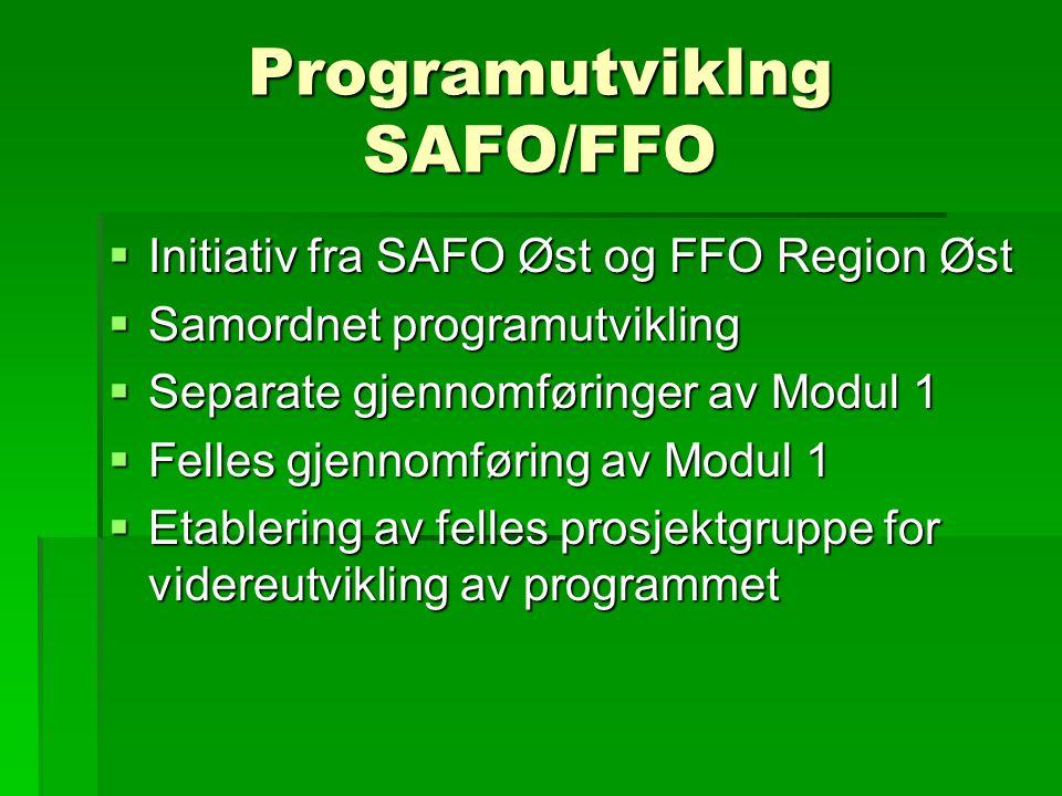Programutviklng SAFO/FFO  Initiativ fra SAFO Øst og FFO Region Øst  Samordnet programutvikling  Separate gjennomføringer av Modul 1  Felles gjennomføring av Modul 1  Etablering av felles prosjektgruppe for videreutvikling av programmet