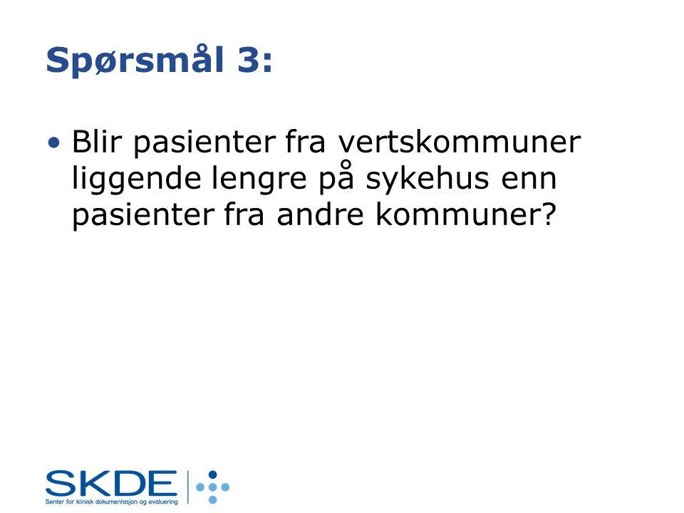 Spørsmål 3: Blir pasienter fra vertskommuner liggende lengre på sykehus enn pasienter fra andre kommuner?
