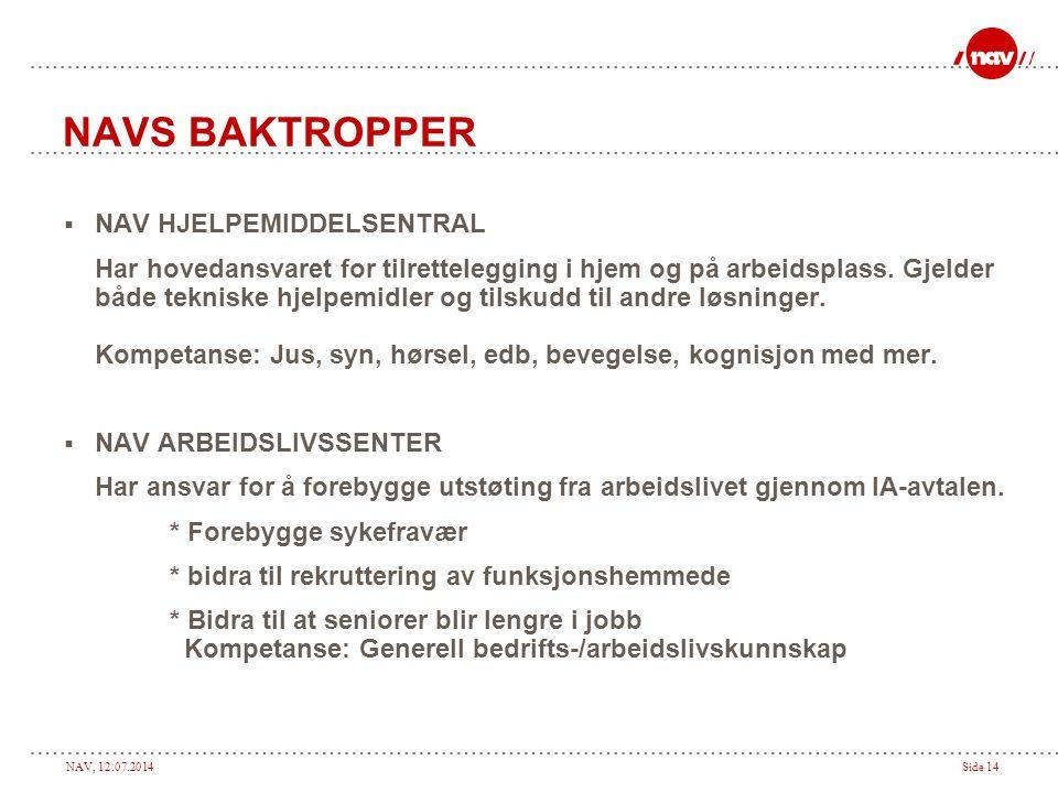 NAV, 12.07.2014Side 14 NAVS BAKTROPPER  NAV HJELPEMIDDELSENTRAL Har hovedansvaret for tilrettelegging i hjem og på arbeidsplass. Gjelder både teknisk