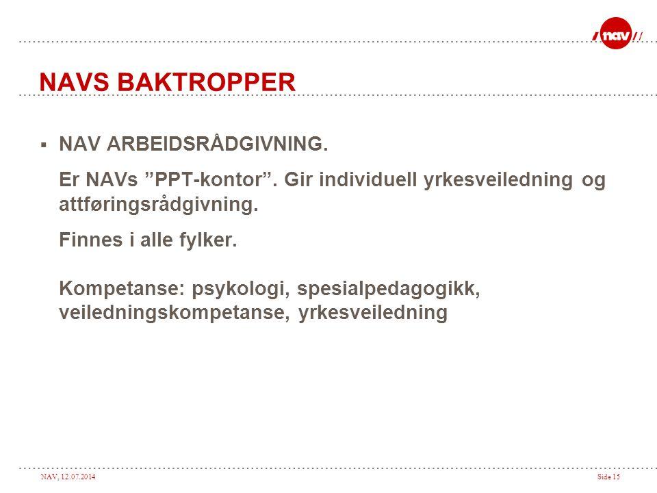 "NAV, 12.07.2014Side 15 NAVS BAKTROPPER  NAV ARBEIDSRÅDGIVNING. Er NAVs ""PPT-kontor"". Gir individuell yrkesveiledning og attføringsrådgivning. Finnes"