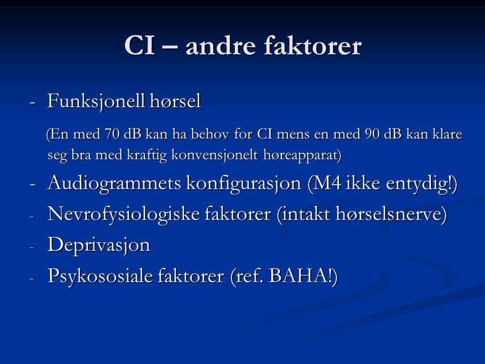 CI – andre faktorer - Funksjonell hørsel (En med 70 dB kan ha behov for CI mens en med 90 dB kan klare seg bra med kraftig konvensjonelt høreapparat) (En med 70 dB kan ha behov for CI mens en med 90 dB kan klare seg bra med kraftig konvensjonelt høreapparat) - Audiogrammets konfigurasjon (M4 ikke entydig!) - Nevrofysiologiske faktorer (intakt hørselsnerve) - Deprivasjon - Psykososiale faktorer (ref.