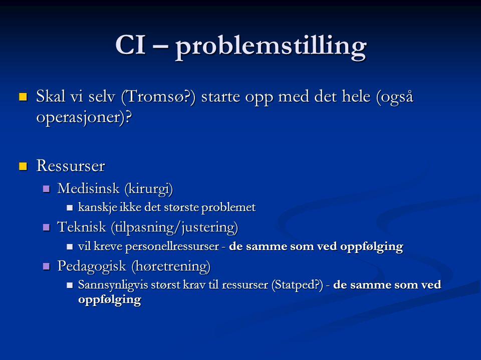 CI – problemstilling Skal vi selv (Tromsø ) starte opp med det hele (også operasjoner).