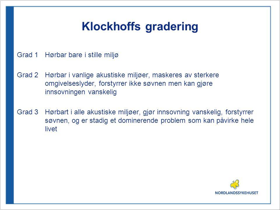 Klockhoffs gradering Grad 1Hørbar bare i stille miljø Grad 2Hørbar i vanlige akustiske miljøer, maskeres av sterkere omgivelseslyder, forstyrrer ikke