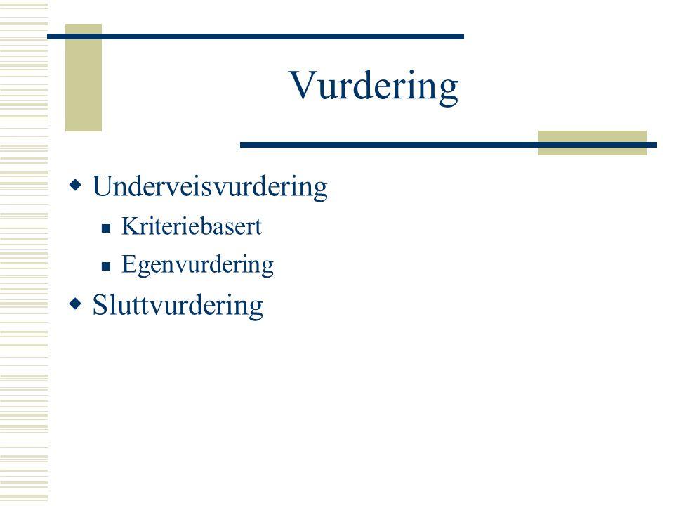 Vurdering  Underveisvurdering Kriteriebasert Egenvurdering  Sluttvurdering