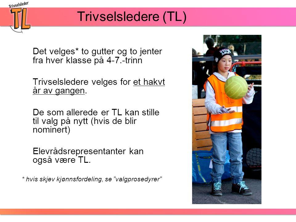 Trivselsledere (TL) Det velges* to gutter og to jenter fra hver klasse på 4-7.-trinn Trivselsledere velges for et hakvt år av gangen. De som allerede