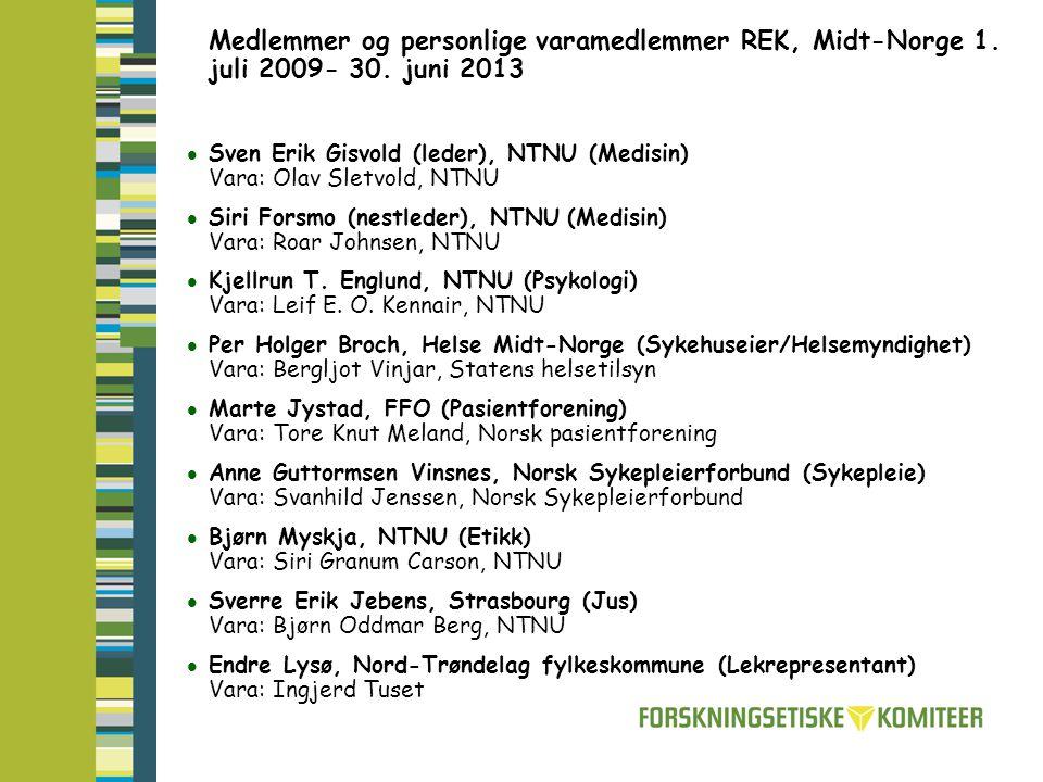 Medlemmer og personlige varamedlemmer REK, Midt-Norge 1.