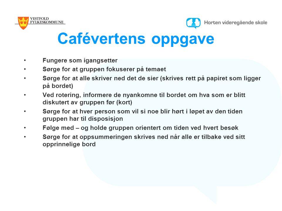 Cafévertens oppgave Fungere som igangsetter Sørge for at gruppen fokuserer på temaet Sørge for at alle skriver ned det de sier (skrives rett på papire