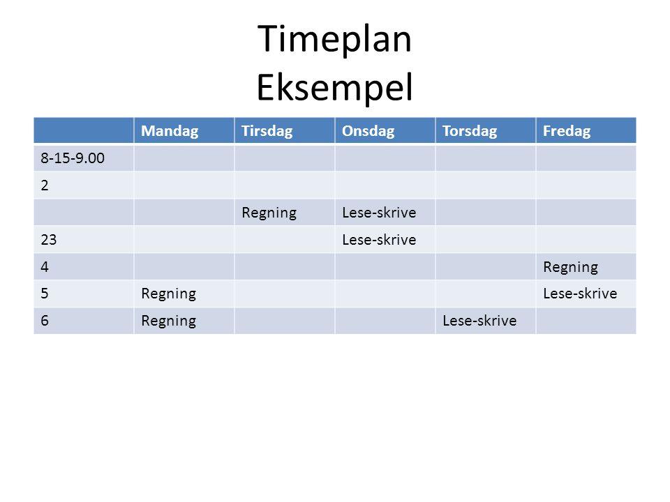 Timeplan Eksempel MandagTirsdagOnsdagTorsdagFredag 8-15-9.00 2 RegningLese-skrive 23Lese-skrive 4Regning 5 Lese-skrive 6RegningLese-skrive