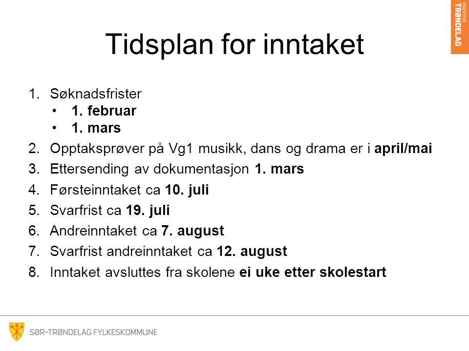 Tidsplan for inntaket 1.Søknadsfrister 1.februar 1.