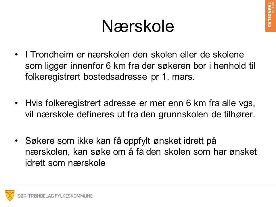 Nærskole I Trondheim er nærskolen den skolen eller de skolene som ligger innenfor 6 km fra der søkeren bor i henhold til folkeregistrert bostedsadresse pr 1.