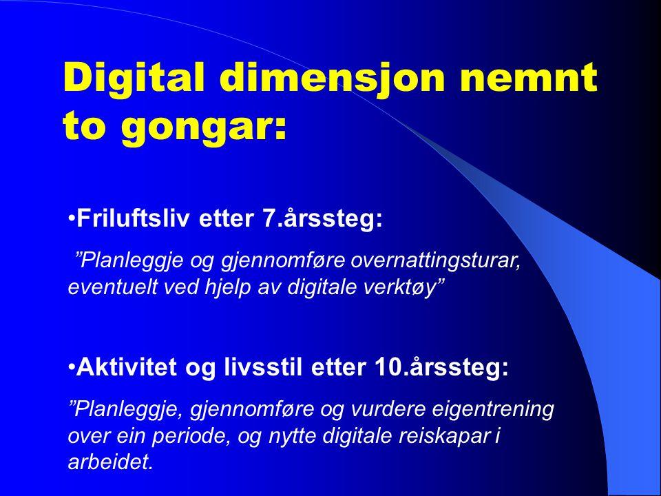 Å kunne bruke digitale verktøy i kroppsøving er viktig når ein skal hente inn informasjon for å planleggje aktivitetar, dokumentere og rapportere (Kunnskapsløftet s.153).