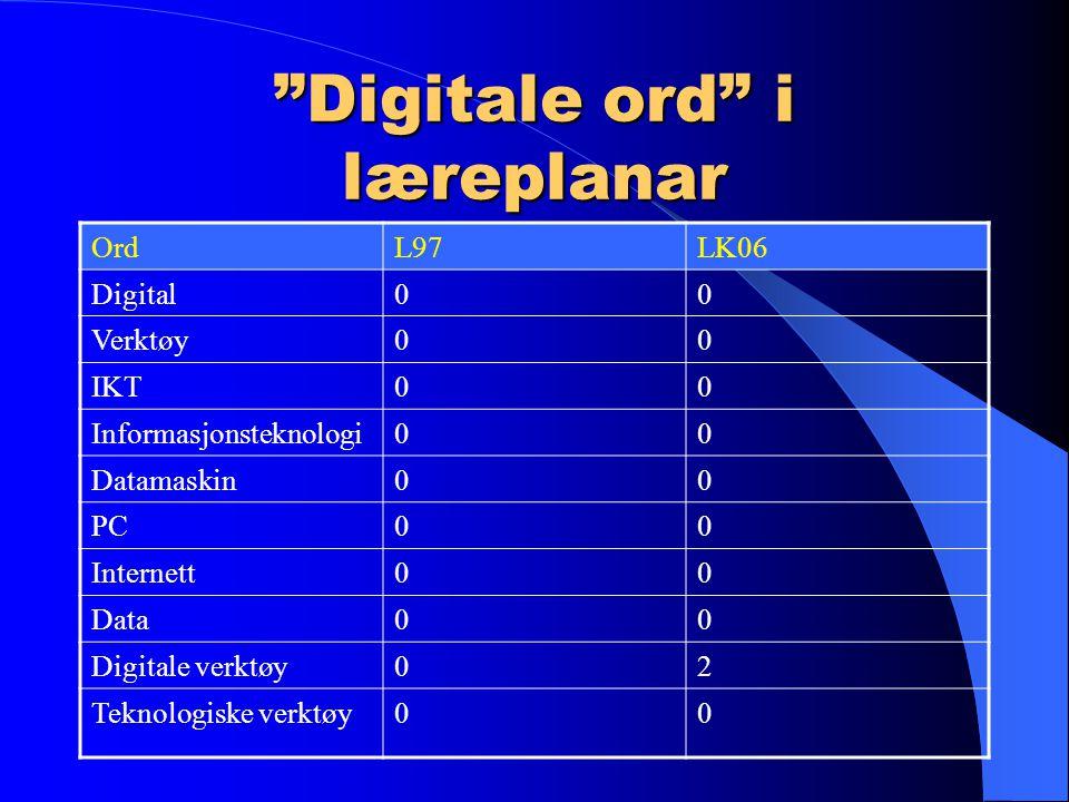 Digitale ord i læreplanar OrdL97LK06 Digital00 Verktøy00 IKT00 Informasjonsteknologi00 Datamaskin00 PC00 Internett00 Data00 Digitale verktøy02 Teknologiske verktøy00