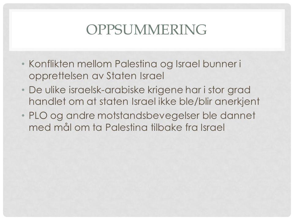 OPPSUMMERING Konflikten mellom Palestina og Israel bunner i opprettelsen av Staten Israel De ulike israelsk-arabiske krigene har i stor grad handlet o