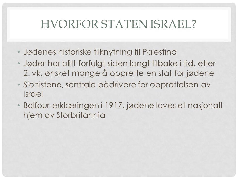 HVORFOR STATEN ISRAEL? Jødenes historiske tilknytning til Palestina Jøder har blitt forfulgt siden langt tilbake i tid, etter 2. vk. ønsket mange å op