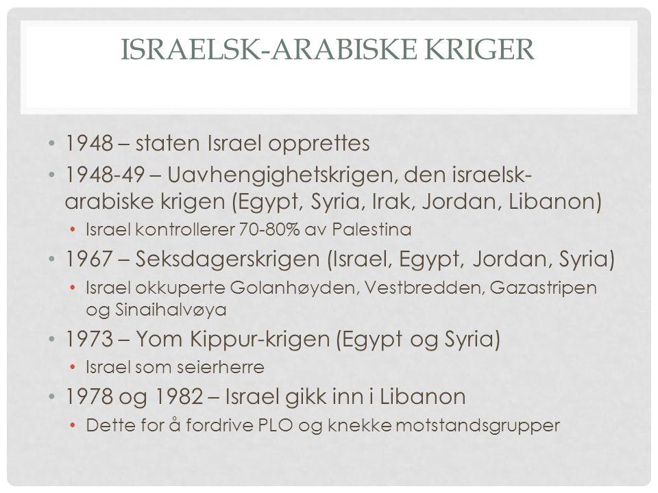 PALESTINSK OPPRØR 1964 – Den palestinske frigjøringsorganisasjonen dannes (PLO) Med mål om å utslette staten Israel 1969 - Yasir Arafat leder for PLO, ønsket etterhvert å skape en palestinsk stat med fredelig midler 1987-93 – Den første intifada Palestinernes opprør mot den israelske okkupasjon på Vestbredden og i Gaza 2000 til ukjent dato – Den andre intifada En kamp for selvstendighet og mot Israels strenge reguleringer av Palestinske områder