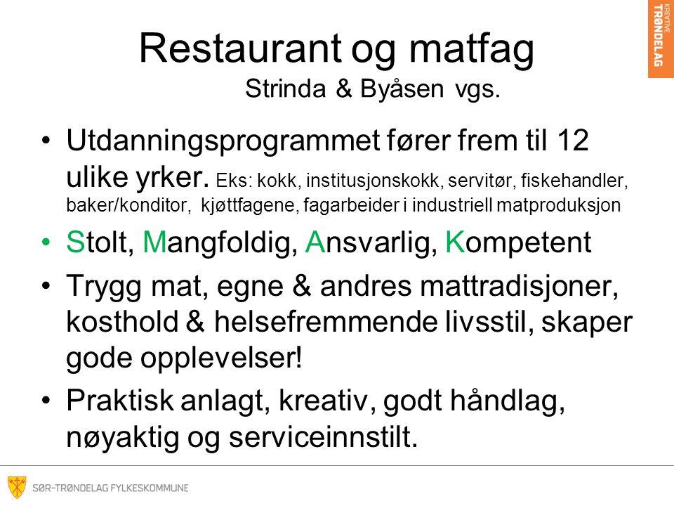 Restaurant og matfag Strinda & Byåsen vgs.Utdanningsprogrammet fører frem til 12 ulike yrker.