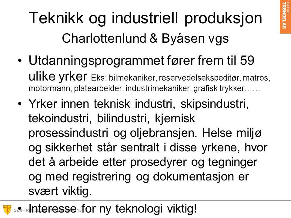 Teknikk og industriell produksjon Charlottenlund & Byåsen vgs Utdanningsprogrammet fører frem til 59 ulike yrker Eks: bilmekaniker, reservedelsekspeditør, matros, motormann, platearbeider, industrimekaniker, grafisk trykker…… Yrker innen teknisk industri, skipsindustri, tekoindustri, bilindustri, kjemisk prosessindustri og oljebransjen.