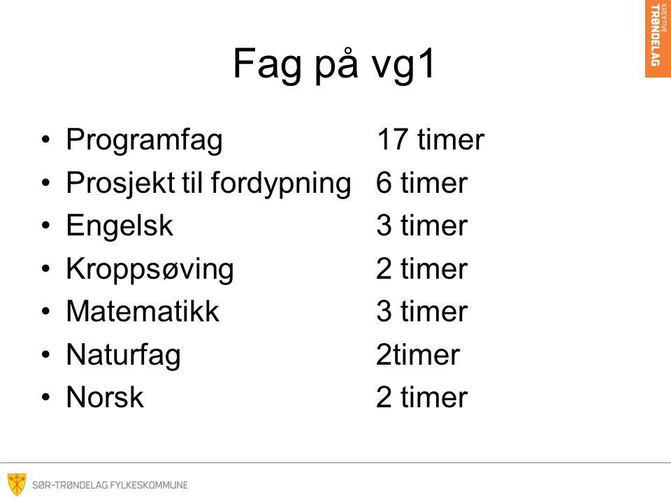 Fag på vg1 Programfag17 timer Prosjekt til fordypning6 timer Engelsk3 timer Kroppsøving2 timer Matematikk3 timer Naturfag2timer Norsk2 timer