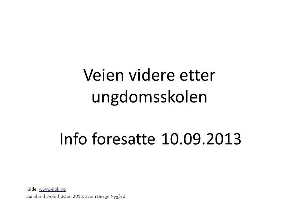 Veien videre etter ungdomsskolen Info foresatte 10.09.2013 Kilde: www.vilbli.nowww.vilbli.no Sunnland skole høsten 2013, Svein Børge Nygård
