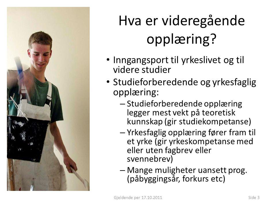 Hva er videregående opplæring? Inngangsport til yrkeslivet og til videre studier Studieforberedende og yrkesfaglig opplæring: – Studieforberedende opp