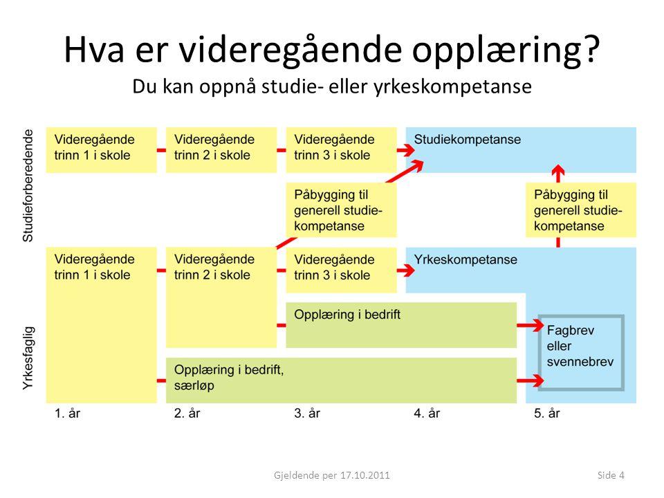 Hva er videregående opplæring? Du kan oppnå studie- eller yrkeskompetanse Gjeldende per 17.10.2011Side 4