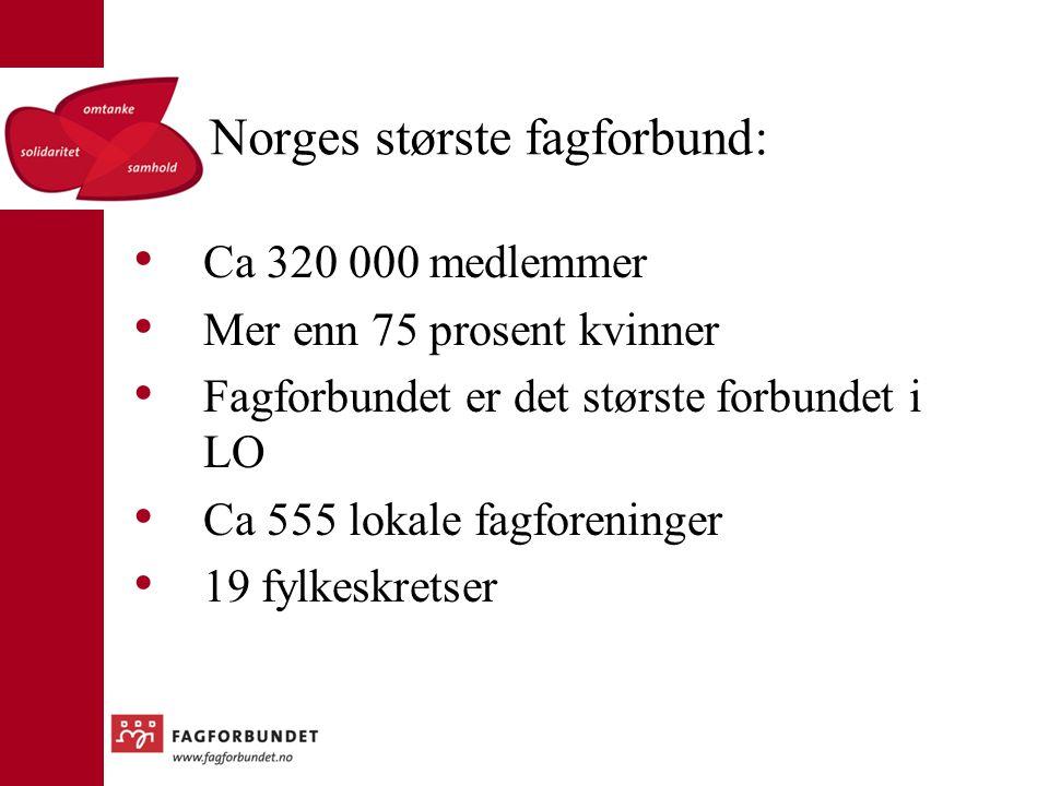 Norges største fagforbund: Ca 320 000 medlemmer Mer enn 75 prosent kvinner Fagforbundet er det største forbundet i LO Ca 555 lokale fagforeninger 19 f