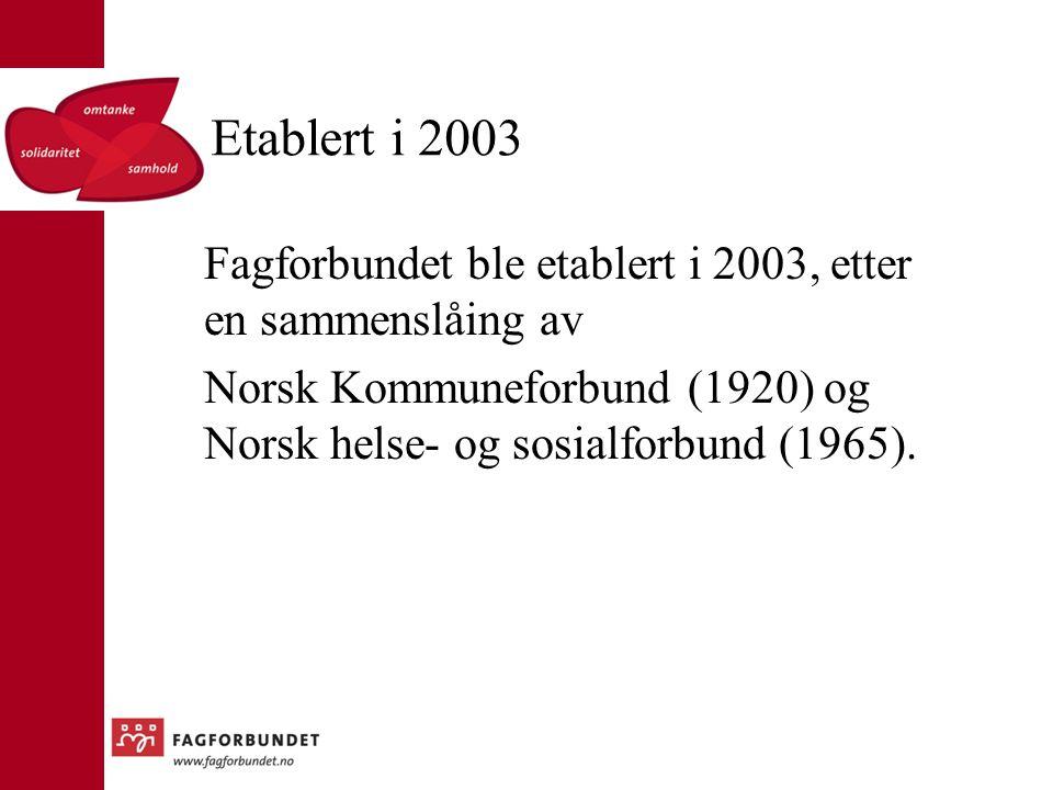 Etablert i 2003 Fagforbundet ble etablert i 2003, etter en sammenslåing av Norsk Kommuneforbund (1920) og Norsk helse- og sosialforbund (1965).