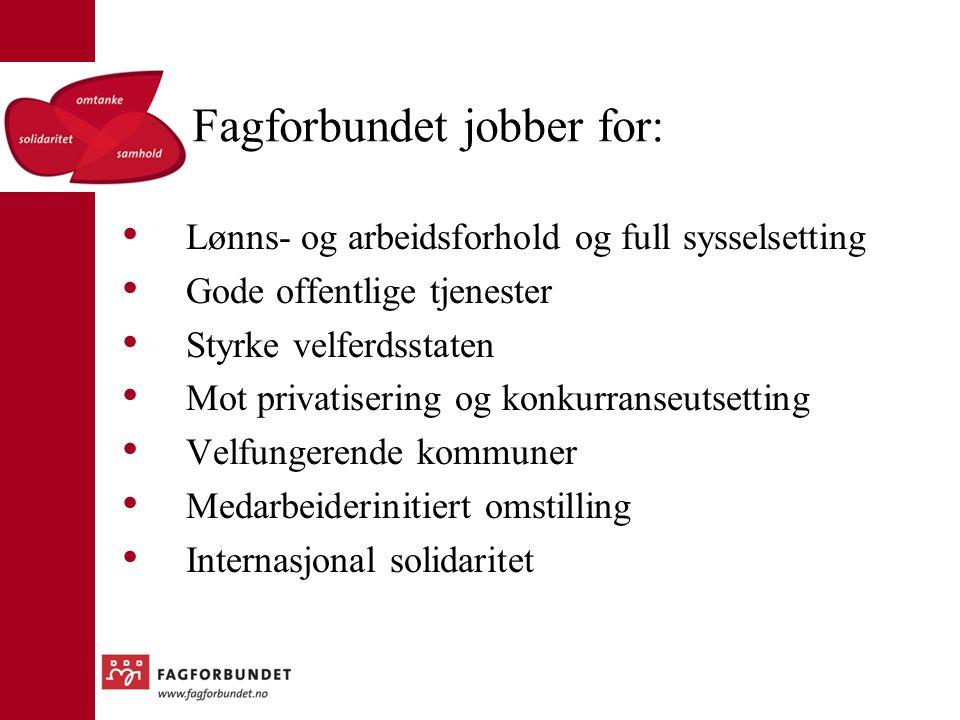 Fagforbundet jobber for: Lønns- og arbeidsforhold og full sysselsetting Gode offentlige tjenester Styrke velferdsstaten Mot privatisering og konkurran