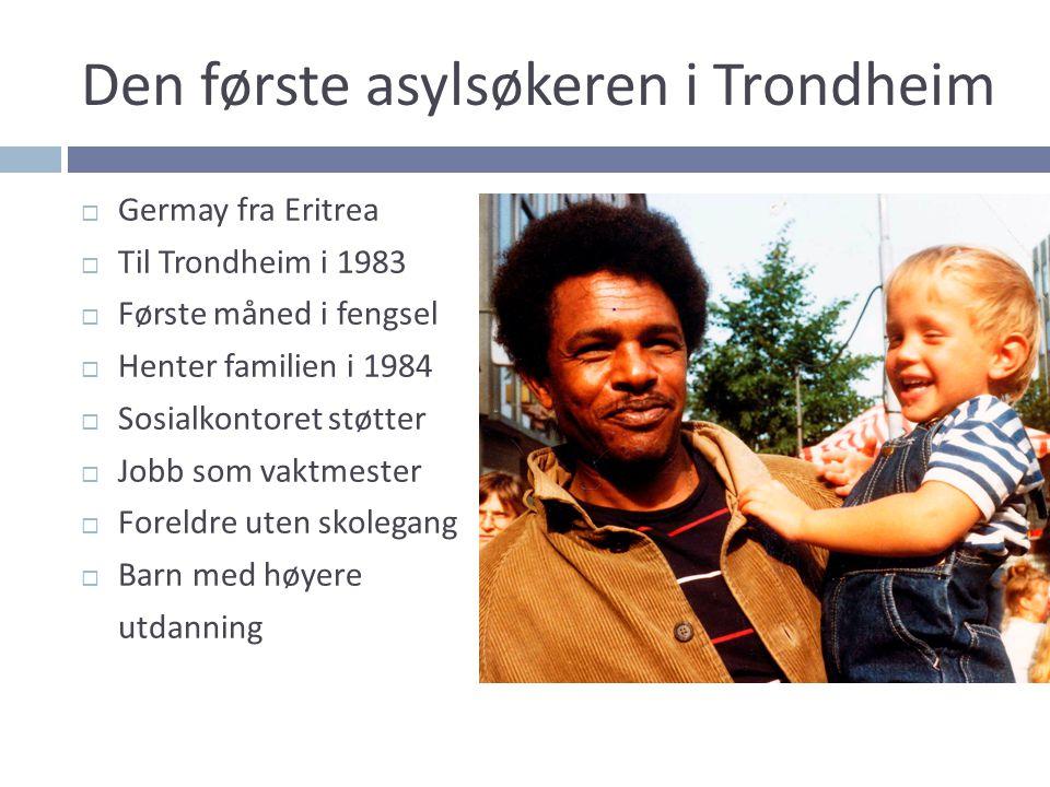 Den første asylsøkeren i Trondheim  Germay fra Eritrea  Til Trondheim i 1983  Første måned i fengsel  Henter familien i 1984  Sosialkontoret støt