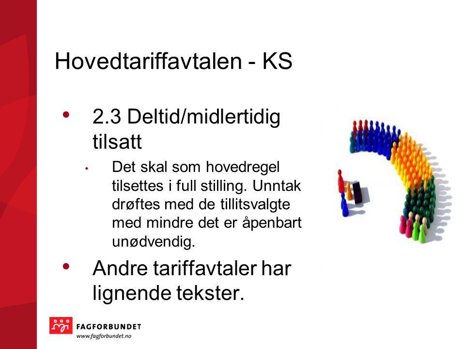 Hovedtariffavtalen - KS 2.3 Deltid/midlertidig tilsatt Det skal som hovedregel tilsettes i full stilling.