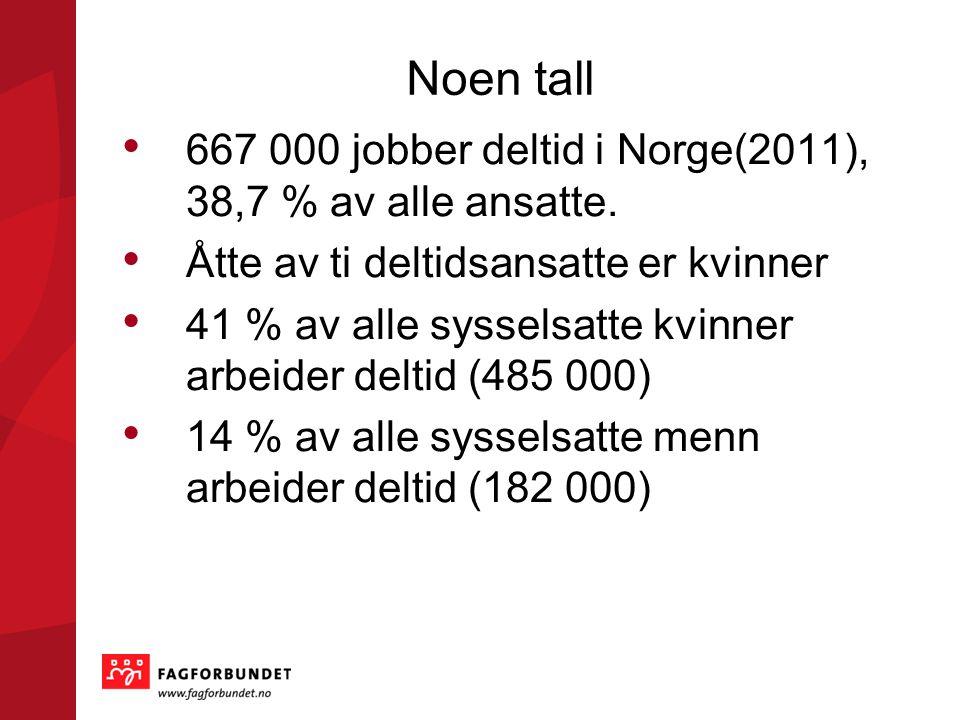 Noen tall 667 000 jobber deltid i Norge(2011), 38,7 % av alle ansatte.