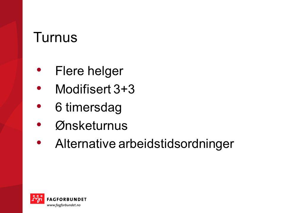 Turnus Flere helger Modifisert 3+3 6 timersdag Ønsketurnus Alternative arbeidstidsordninger