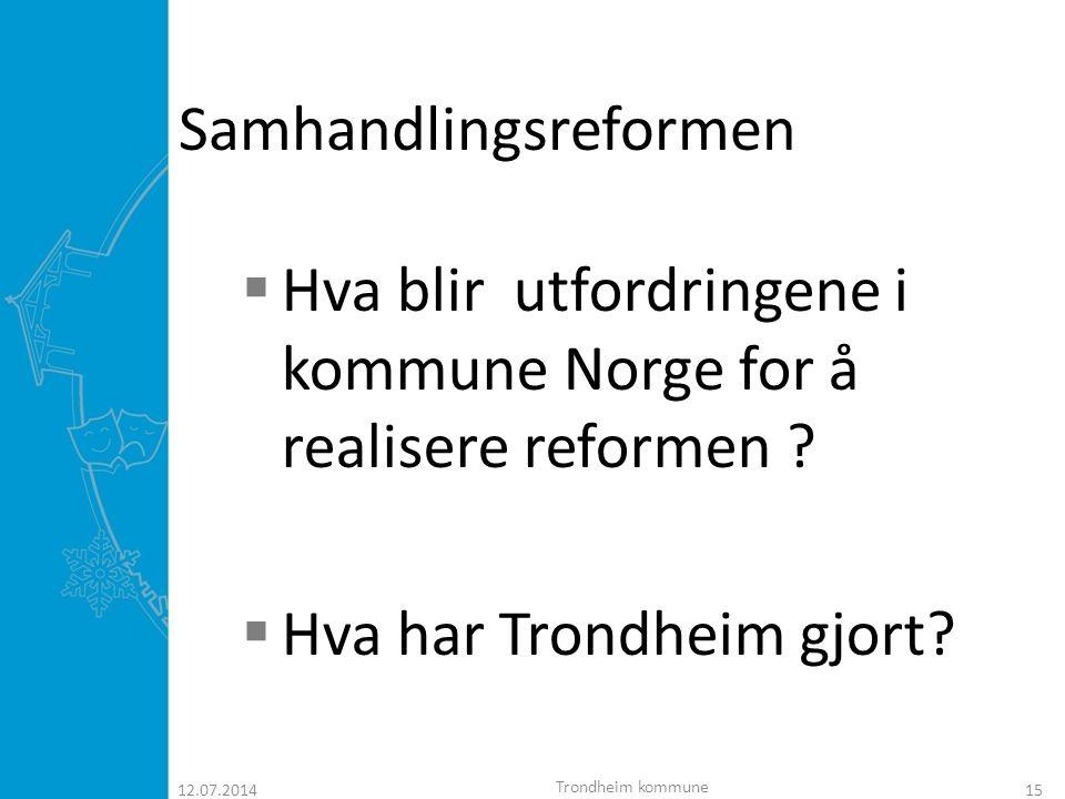 12.07.201416 Eldreplanen for Trondheim kommune 2007 - 2015  Bystyret sa enstemmig under sin behandling av planen at den er framtidsrettet og visjonær.