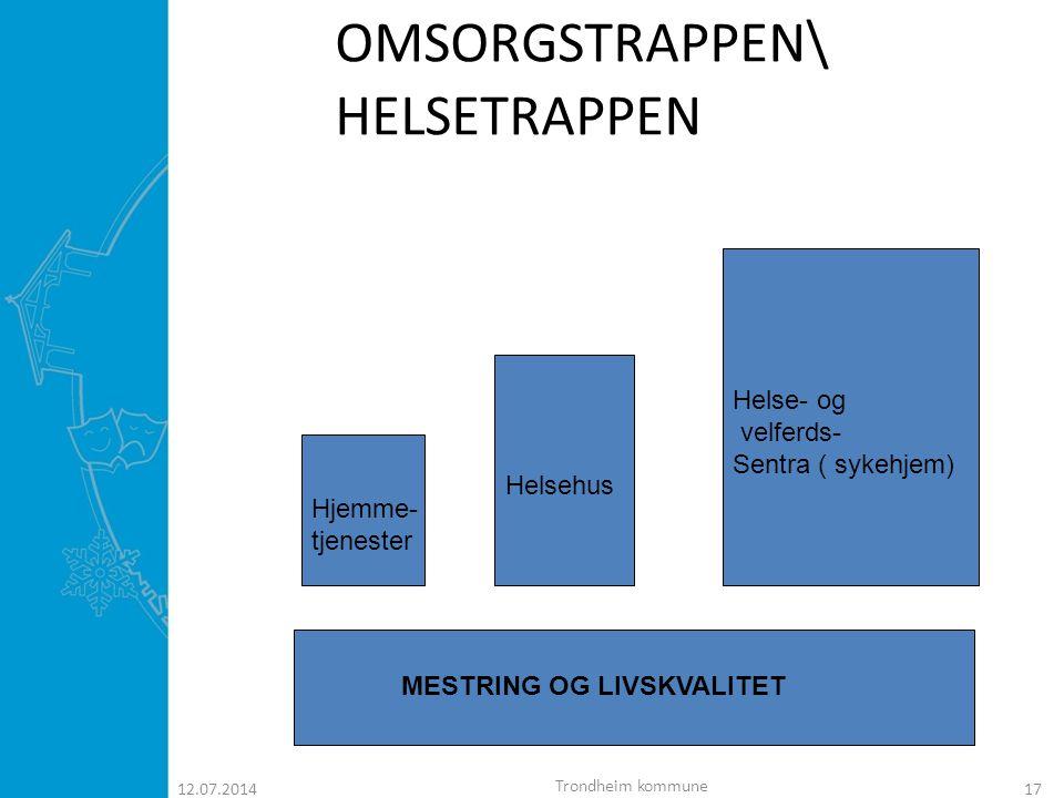 12.07.201418 OMSORGSTRAPPEN\ HELSETRAPPEN MESTRING OG LIVSKVALITET - Hjemme- tjenester - Helsehus - Helse-og velferds- sentra Sykehus sykehus Diagnoser Trondheim kommune