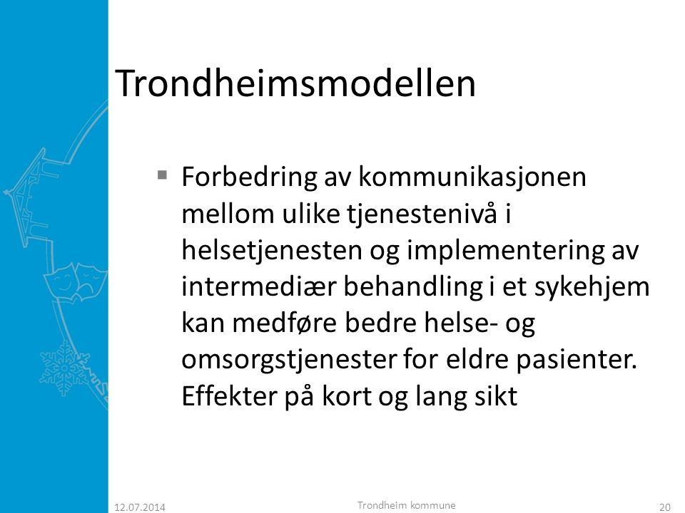 12.07.201421 INTERMEDIÆRAVDELINGEN  20 plasser  samarbeid mellom Trondheim kommune og St.Olavs hospital.