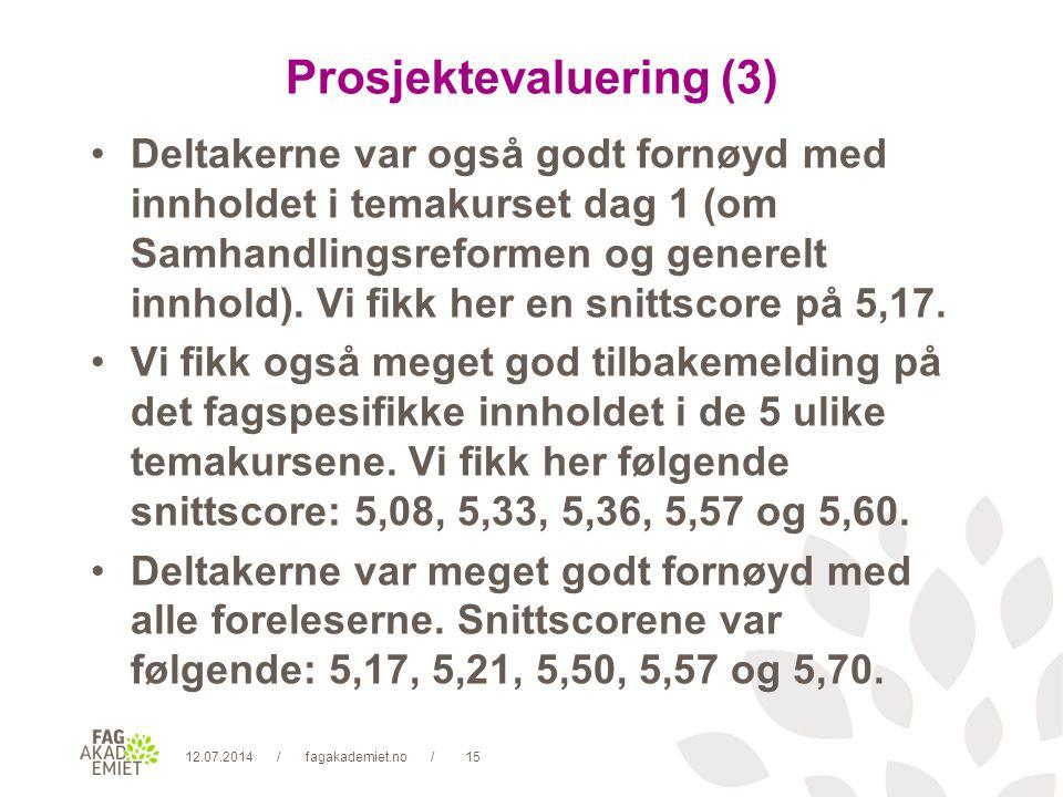 12.07.2014fagakademiet.no15// Prosjektevaluering (3) Deltakerne var også godt fornøyd med innholdet i temakurset dag 1 (om Samhandlingsreformen og generelt innhold).
