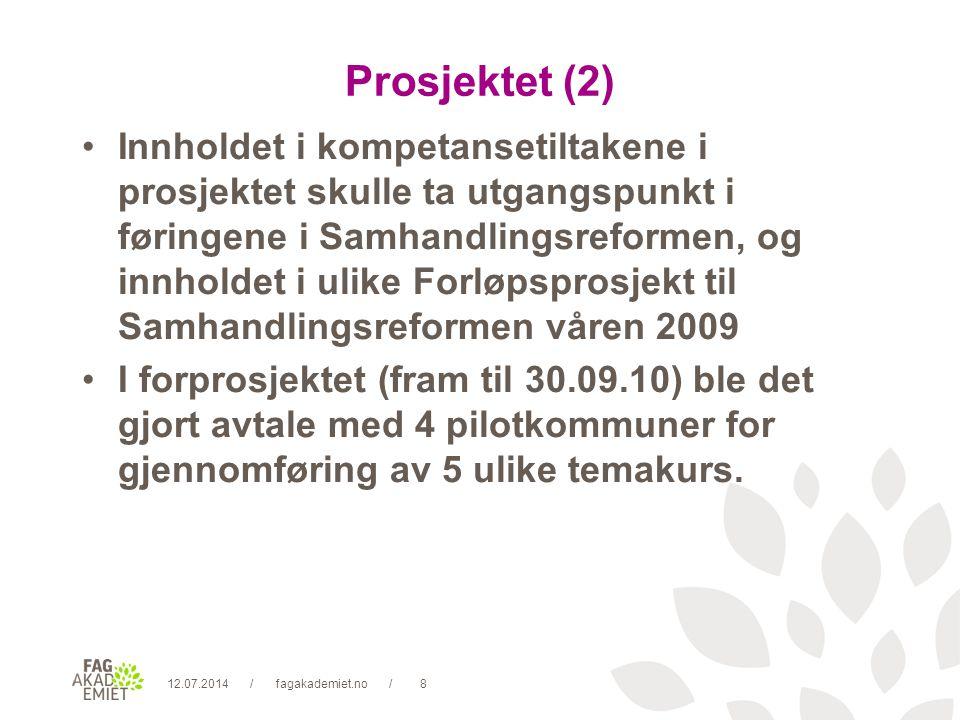 12.07.2014fagakademiet.no9// Prosjektet (3) Psykisk helse/rus over 3 kursdager (Jevnaker kommune)Psykisk helse Sykehjemsbeboere med fokus på demens over 3 kursdager (Vestre Toten kommune)Sykehjemsbeboere Diabetes over 2 kursdager (Gran kommune)Diabetes Kols over 2 kursdager (Vestre Toten kommune)Kols Lindrende pleie og kreft over 2 kursdager (Åmot kommune)